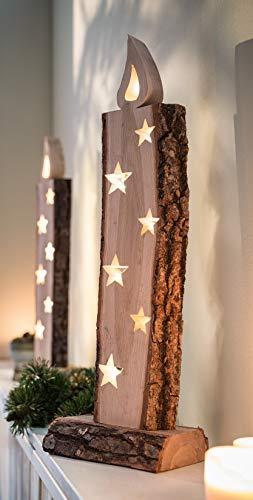 """Deko Objekt """"Leuchtkerze"""" aus Holz, 52 cm hoch, mit LED Lichterkette, Batterie-betrieben, Skulptur … - 1"""