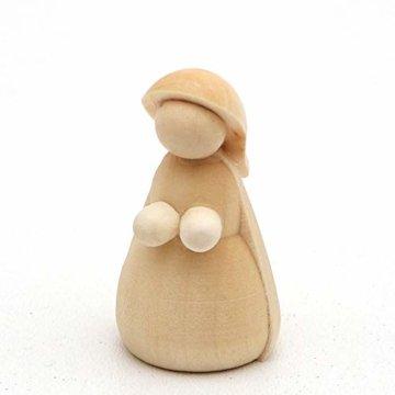 Dekohelden24 Handgedrechselte Holz Krippenfiguren als 4er Set, Maße L/B/H: 2 x 2 x 5,5 cm. - 3