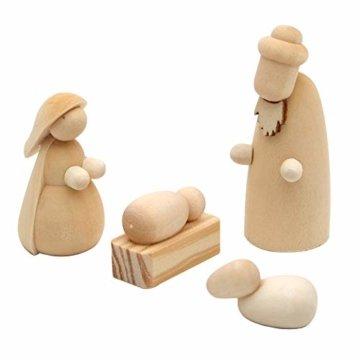 Dekohelden24 Handgedrechselte Holz Krippenfiguren als 4er Set, Maße L/B/H: 2 x 2 x 5,5 cm. - 1