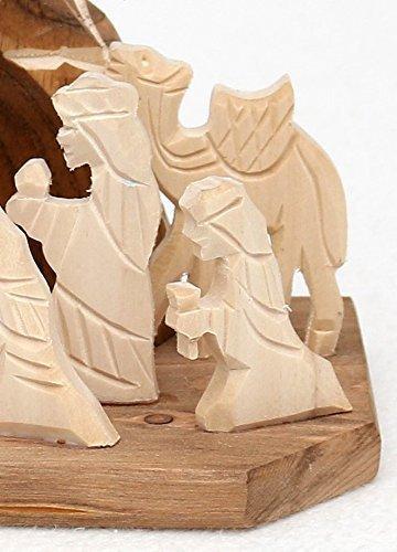 Dekohelden24 Handgeschnitzte Holz Krippe mit 9 Figuren, Breite 18 cm x Tiefe 10 cm x Höhe 13 cm - 2