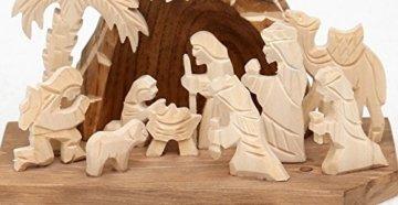 Dekohelden24 Handgeschnitzte Holz Krippe mit 9 Figuren, Breite 18 cm x Tiefe 10 cm x Höhe 13 cm - 3
