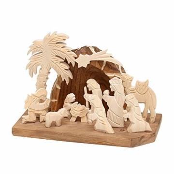 Dekohelden24 Handgeschnitzte Holz Krippe mit 9 Figuren, Breite 18 cm x Tiefe 10 cm x Höhe 13 cm - 1