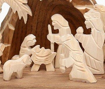 Dekohelden24 Handgeschnitzte Holz Krippe mit 9 Figuren, Breite 18 cm x Tiefe 10 cm x Höhe 13 cm - 5