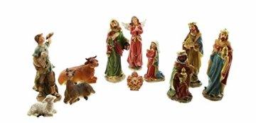 Dekoleidenschaft 11 TLG. Figuren-Set für die Weihnachtskrippe ca. 15 cm hoch, mit Jesuskind, Maria, Josef, die heiligen 3 Könige, Hirte mit Lamm, Engel, Schaf, Esel und Rind - 2