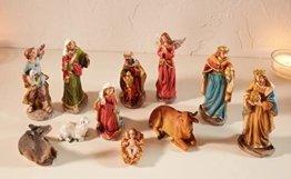 Dekoleidenschaft 11 TLG. Figuren-Set für die Weihnachtskrippe ca. 15 cm hoch, mit Jesuskind, Maria, Josef, die heiligen 3 Könige, Hirte mit Lamm, Engel, Schaf, Esel und Rind - 1