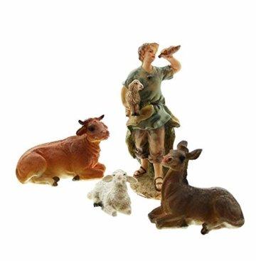 Dekoleidenschaft 11 TLG. Figuren-Set für die Weihnachtskrippe ca. 15 cm hoch, mit Jesuskind, Maria, Josef, die heiligen 3 Könige, Hirte mit Lamm, Engel, Schaf, Esel und Rind - 5