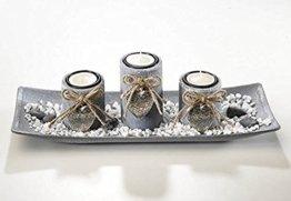 Dekoschale rechteckig mit 3 Kerzenhalter aus Holz grau und Steindekoration - 1