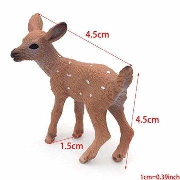 Dengeng Set von 6 Weihnachts-Reh Figuren für Weihnachtsdekoration, Hirsch-Spielzeug - 3