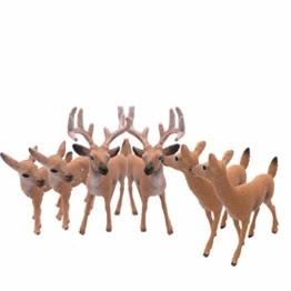 Dengeng Set von 6 Weihnachts-Reh Figuren für Weihnachtsdekoration, Hirsch-Spielzeug - 1
