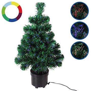 Deuba Weihnachtsbaum 60 cm Farbwechselspiel 9 Verschiedene Lichteffekte Glasfaser Christbaum Tannenbaum Klein Mini Tischbaum - 2