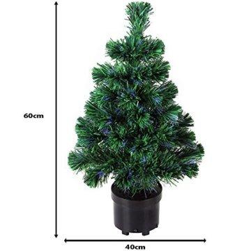 Deuba Weihnachtsbaum 60 cm Farbwechselspiel 9 Verschiedene Lichteffekte Glasfaser Christbaum Tannenbaum Klein Mini Tischbaum - 4