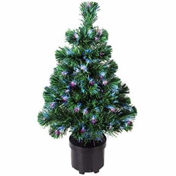 Deuba Weihnachtsbaum 60 cm Farbwechselspiel 9 Verschiedene Lichteffekte Glasfaser Christbaum Tannenbaum Klein Mini Tischbaum - 1