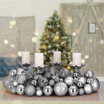Deuba Weihnachtskugeln 100er Set Weihnachtsdeko matt glänzend Glitzer christbaumkugeln Silber Ø 3 4 6 cm innen außen - 2