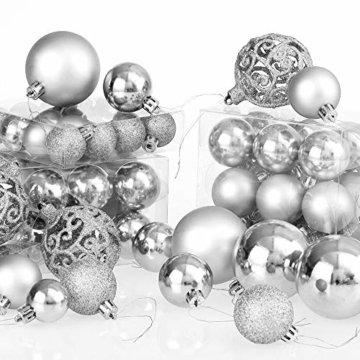 Deuba Weihnachtskugeln 100er Set Weihnachtsdeko matt glänzend Glitzer christbaumkugeln Silber Ø 3 4 6 cm innen außen - 3