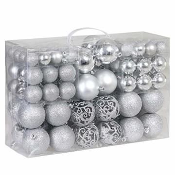 Deuba Weihnachtskugeln 100er Set Weihnachtsdeko matt glänzend Glitzer christbaumkugeln Silber Ø 3 4 6 cm innen außen - 1