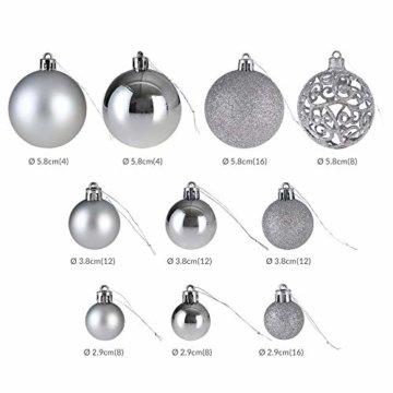 Deuba Weihnachtskugeln 100er Set Weihnachtsdeko matt glänzend Glitzer christbaumkugeln Silber Ø 3 4 6 cm innen außen - 5
