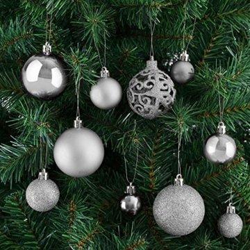 Deuba Weihnachtskugeln 100er Set Weihnachtsdeko matt glänzend Glitzer christbaumkugeln Silber Ø 3 4 6 cm innen außen - 7