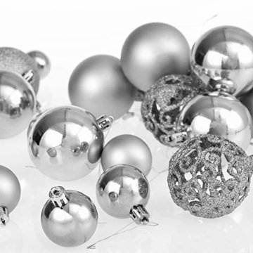 Deuba Weihnachtskugeln 100er Set Weihnachtsdeko matt glänzend Glitzer christbaumkugeln Silber Ø 3 4 6 cm innen außen - 9