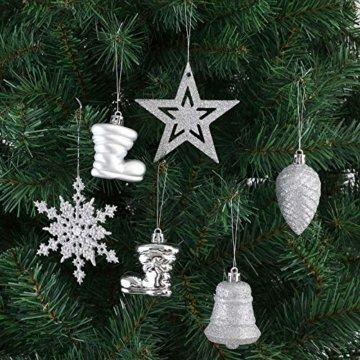 Deuba Weihnachtskugeln 102er Set Weihnachtsdeko matt glänzend Glitzer Baumspitze Christbaumkugeln Silber Ø 3 4 6 cm - 3