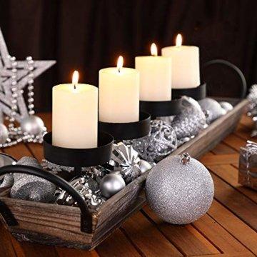 Deuba Weihnachtskugeln 102er Set Weihnachtsdeko matt glänzend Glitzer Baumspitze Christbaumkugeln Silber Ø 3 4 6 cm - 4
