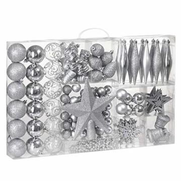 Deuba Weihnachtskugeln 102er Set Weihnachtsdeko matt glänzend Glitzer Baumspitze Christbaumkugeln Silber Ø 3 4 6 cm - 1