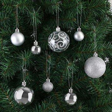 Deuba Weihnachtskugeln 102er Set Weihnachtsdeko matt glänzend Glitzer Baumspitze Christbaumkugeln Silber Ø 3 4 6 cm - 5