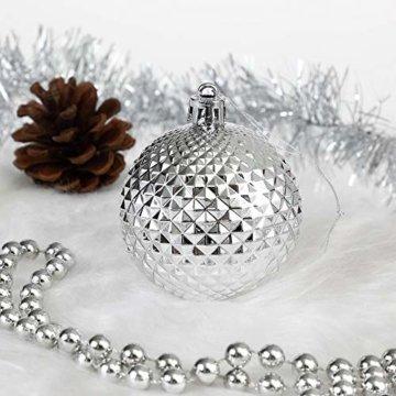 Deuba Weihnachtskugeln 102er Set Weihnachtsdeko matt glänzend Glitzer Baumspitze Christbaumkugeln Silber Ø 3 4 6 cm - 6