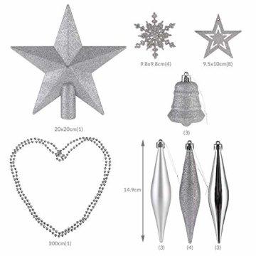 Deuba Weihnachtskugeln 102er Set Weihnachtsdeko matt glänzend Glitzer Baumspitze Christbaumkugeln Silber Ø 3 4 6 cm - 7