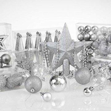 Deuba Weihnachtskugeln 102er Set Weihnachtsdeko matt glänzend Glitzer Baumspitze Christbaumkugeln Silber Ø 3 4 6 cm - 8