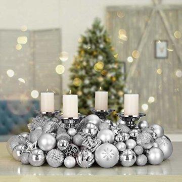 Deuba Weihnachtskugeln 102er Set Weihnachtsdeko matt glänzend Glitzer Baumspitze Christbaumkugeln Silber Ø 3 4 6 cm - 9