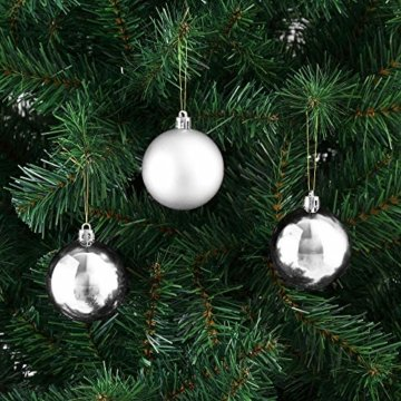 Deuba Weihnachtskugeln 54er Set Weihnachtsdeko matt glänzend Glitzer christbaumkugeln Silber Ø 3 4 6 cm innen außen - 2