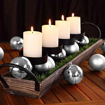 Deuba Weihnachtskugeln 54er Set Weihnachtsdeko matt glänzend Glitzer christbaumkugeln Silber Ø 3 4 6 cm innen außen - 3