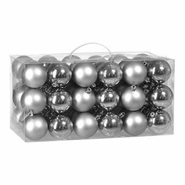 Deuba Weihnachtskugeln 54er Set Weihnachtsdeko matt glänzend Glitzer christbaumkugeln Silber Ø 3 4 6 cm innen außen - 1
