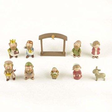 DXQDXQ Statue Mini Weihnachtskrippe Krippenfiguren 9 Figuren Holz Tischdeko Weihnachtsdeko Krippe Figuren Wasserdicht - 2