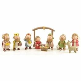 DXQDXQ Statue Mini Weihnachtskrippe Krippenfiguren 9 Figuren Holz Tischdeko Weihnachtsdeko Krippe Figuren Wasserdicht - 1