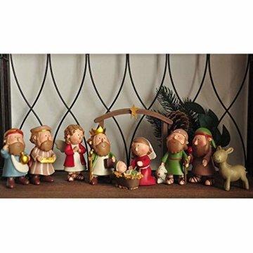 DXQDXQ Statue Mini Weihnachtskrippe Krippenfiguren 9 Figuren Holz Tischdeko Weihnachtsdeko Krippe Figuren Wasserdicht - 5