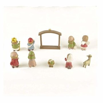 DXQDXQ Statue Mini Weihnachtskrippe Krippenfiguren 9 Figuren Holz Tischdeko Weihnachtsdeko Krippe Figuren Wasserdicht - 6