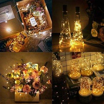 【16 Stück】Nasharia 20 LEDs 2M Flaschen Licht, Lichterkette für Flasche LED Lichterketten Stimmungslichter Weinflasche Kupferdraht, batteriebetriebene für Flasche DIY, Dekor,Weihnachten (Warmweiß, 16) - 3