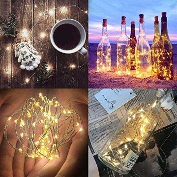 【16 Stück】Nasharia 20 LEDs 2M Flaschen Licht, Lichterkette für Flasche LED Lichterketten Stimmungslichter Weinflasche Kupferdraht, batteriebetriebene für Flasche DIY, Dekor,Weihnachten (Warmweiß, 16) - 4