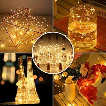 【16 Stück】Nasharia 20 LEDs 2M Flaschen Licht, Lichterkette für Flasche LED Lichterketten Stimmungslichter Weinflasche Kupferdraht, batteriebetriebene für Flasche DIY, Dekor,Weihnachten (Warmweiß, 16) - 5