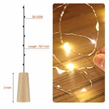 【16 Stück】Nasharia 20 LEDs 2M Flaschen Licht, Lichterkette für Flasche LED Lichterketten Stimmungslichter Weinflasche Kupferdraht, batteriebetriebene für Flasche DIY, Dekor,Weihnachten (Warmweiß, 16) - 6