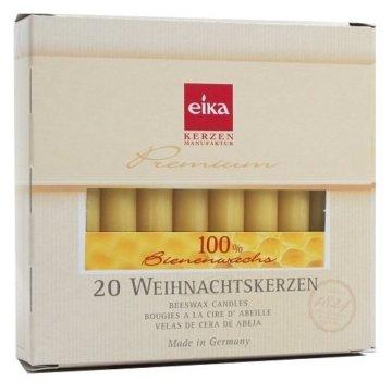 Eika 10266810 Baumkerzen 100% Bienenwachs, naturgelb, 20er Packung - 1