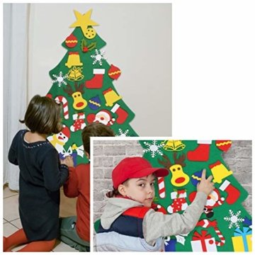 EKKONG Filz Weihnachtsbaum Set Edition 30 Pcs Ornamente Wand Dekor Für Kinder Weihnachten Geschenk Home Tür Wand Dekoration - 2