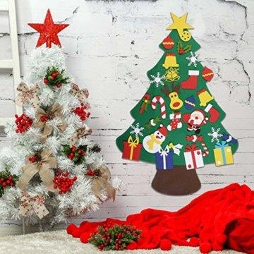 EKKONG Filz Weihnachtsbaum Set Edition 30 Pcs Ornamente Wand Dekor Für Kinder Weihnachten Geschenk Home Tür Wand Dekoration - 3