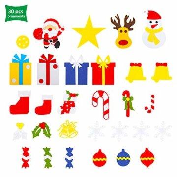 EKKONG Filz Weihnachtsbaum Set Edition 30 Pcs Ornamente Wand Dekor Für Kinder Weihnachten Geschenk Home Tür Wand Dekoration - 5