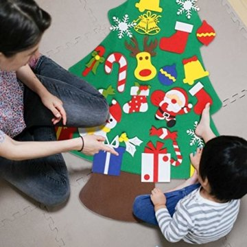 EKKONG Filz Weihnachtsbaum Set Edition 30 Pcs Ornamente Wand Dekor Für Kinder Weihnachten Geschenk Home Tür Wand Dekoration - 7