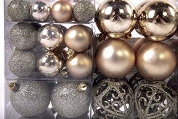 Exklusives Weihnachtskugeln Christbaumkugeln SET mit 100 Stück Farbe Champagner - 2