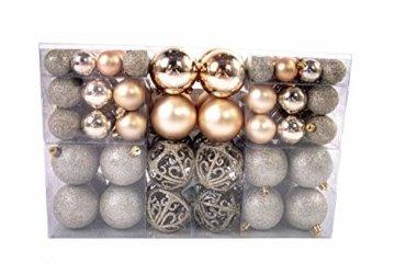 Exklusives Weihnachtskugeln Christbaumkugeln SET mit 100 Stück Farbe Champagner - 3