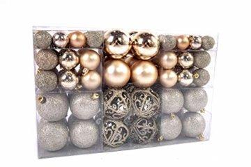 Exklusives Weihnachtskugeln Christbaumkugeln SET mit 100 Stück Farbe Champagner - 1