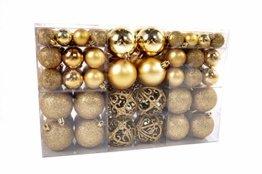 Exklusives Weihnachtskugeln Christbaumkugeln SET mit 100 Stück Farbe Gold - 1